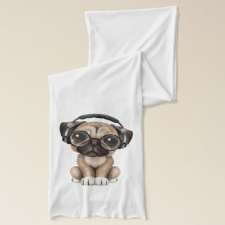 Cute Pug Puppy Wearing Headphones Scarf