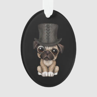 Cute Pug Puppy with Monocle and Top Hat Black