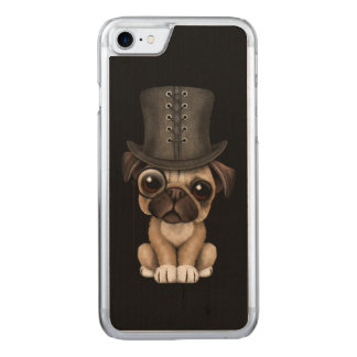 Cute Pug Puppy with Monocle and Top Hat Black Carved iPhone 7 Case