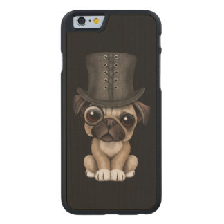 Cute Pug Puppy with Monocle and Top Hat Black Carved® Maple iPhone 6 Slim Case