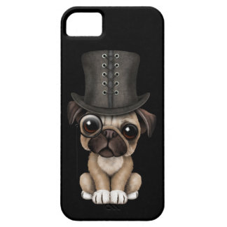 Cute Pug Puppy with Monocle and Top Hat Black iPhone SE/5/5s Case
