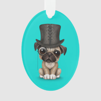 Cute Pug Puppy with Monocle and Top Hat Blue