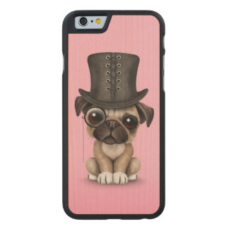 Cute Pug Puppy with Monocle and Top Hat Pink Carved® Maple iPhone 6 Slim Case