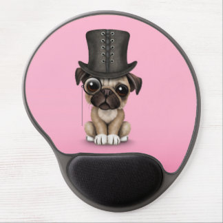 Cute Pug Puppy with Monocle and Top Hat Pink Gel Mouse Pad