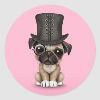 Cute Pug Puppy with Monocle and Top Hat Pink Sticker