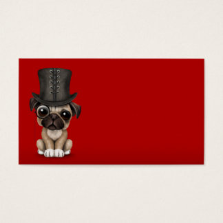 Cute Pug Puppy with Monocle and Top Hat Red Business Card