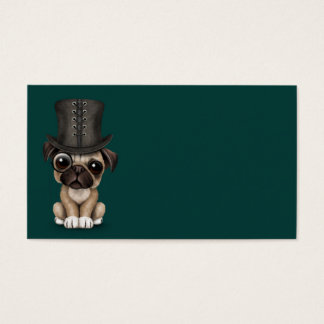 Cute Pug Puppy with Monocle and Top Hat Teal Business Card