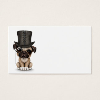 Cute Pug Puppy with Monocle and Top Hat White Business Card