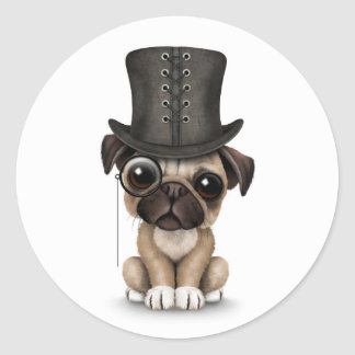 Cute Pug Puppy with Monocle and Top Hat White Round Stickers