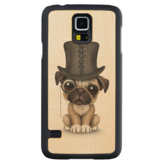 Cute Pug Puppy with Monocle and Top Hat White Carved® Maple Galaxy S5 Slim Case