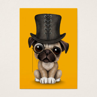 Cute Pug Puppy with Monocle and Top Hat Yellow Business Card