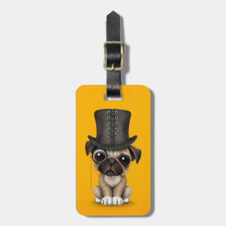Cute Pug Puppy with Monocle and Top Hat Yellow Tag For Bags