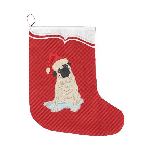 Cute Pug Santa Claus dog red stripe Large Christmas Stocking | Zazzle.com