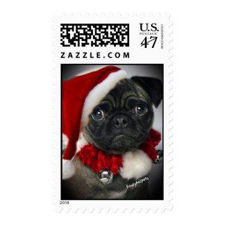 Cute Pug Santa Postage