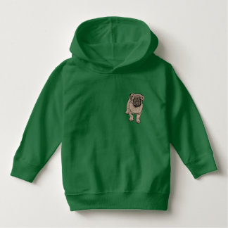 Cute Pug Toddler Pullover Hoodie -Green