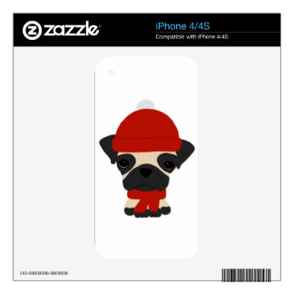 Cute Pug Wearing Hat and Scarf Skin For iPhone 4