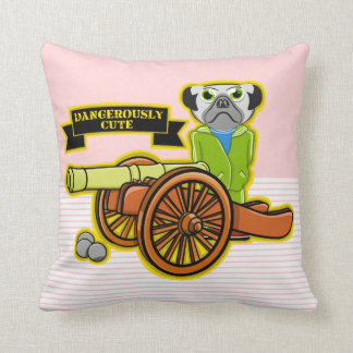 Cute Pug With A Cannon Throw Pillow