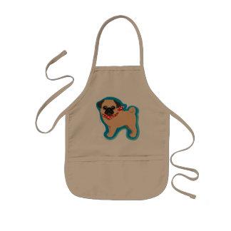 Cute pug with scarf kids' apron