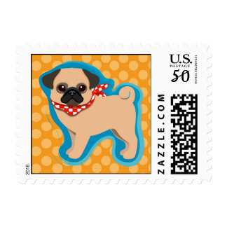Cute pug with scarf postage