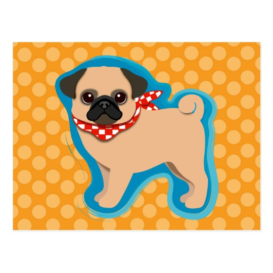 Cute pug with scarf postcard