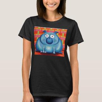 Cute pug womens black t shirt