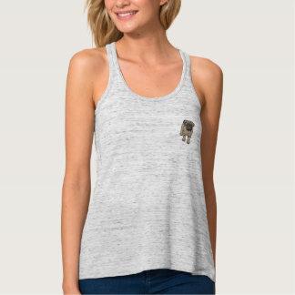 Cute Pug Women's Flowy Pocket Tank Top -Gray