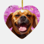 Cute Puggle Double-Sided Heart Ceramic Christmas Ornament