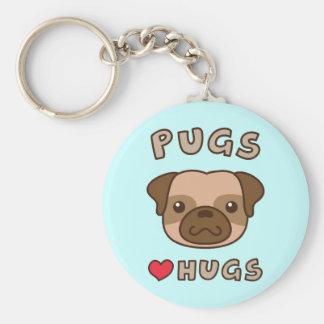 Cute Pugs Love Hugs Dog Owners Keychain