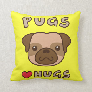 Cute Pugs love hugs, for puppy lovers Pillow