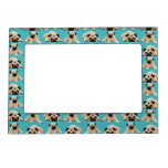 Cute Pugs on Green Dots Magnetic Picture Frames