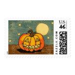 Cute Pumpkin Against Moon Postage Stamp