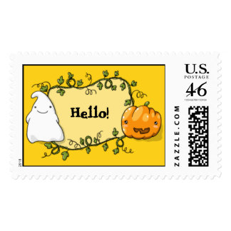 Cute pumpkin and ghost postage