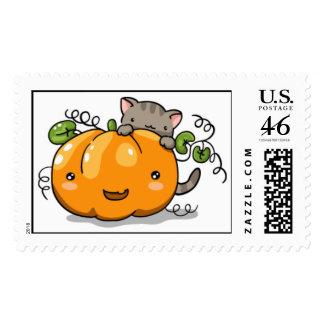Cute pumpkin and kitten postage