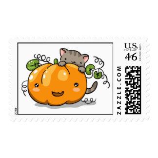 Cute pumpkin and kitten postage (medium)