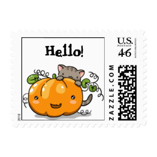 Cute pumpkin and kitten postage (small)