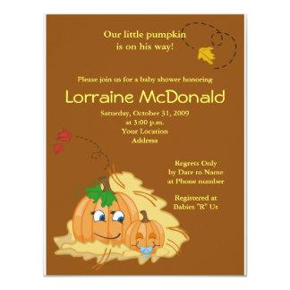 Cute Pumpkin Autumn Fall Baby Shower Invitation
