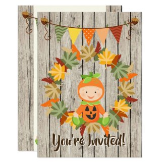 Cute Pumpkin Baby Autumn 1st Birthday Invitation