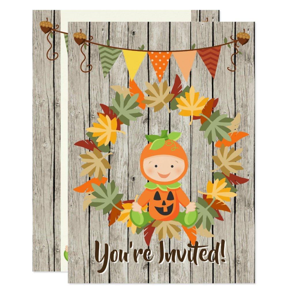 Cute Pumpkin Baby Autumn Baby Shower Invitation