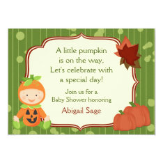 Cute Pumpkin Baby Halloween Baby Shower Invitation at Zazzle