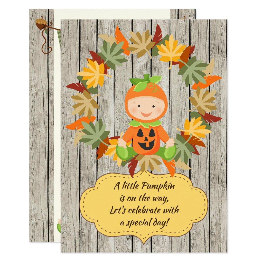 Cute Pumpkin Baby, Wreath Fall Baby Shower Invite