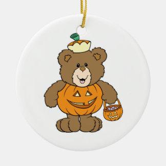 Cute Pumpkin Bear Double-Sided Ceramic Round Christmas Ornament