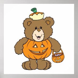 Cute Pumpkin Bear Poster