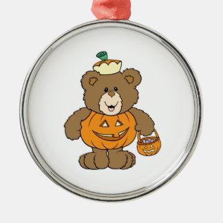 Cute Pumpkin Bear Round Metal Christmas Ornament