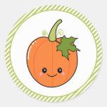 Cute Pumpkin Birthday Classic Round Sticker