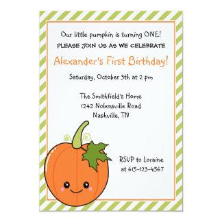 Cute Pumpkin Birthday Personalized Invite