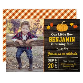 Cute Pumpkin Boy Autumn Birthday Photo Invitation