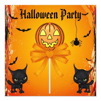 Cute Pumpkin Candy, Cats & Bats Halloween Party Card