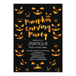 Cute Pumpkin Carving Halloween Party Invitation