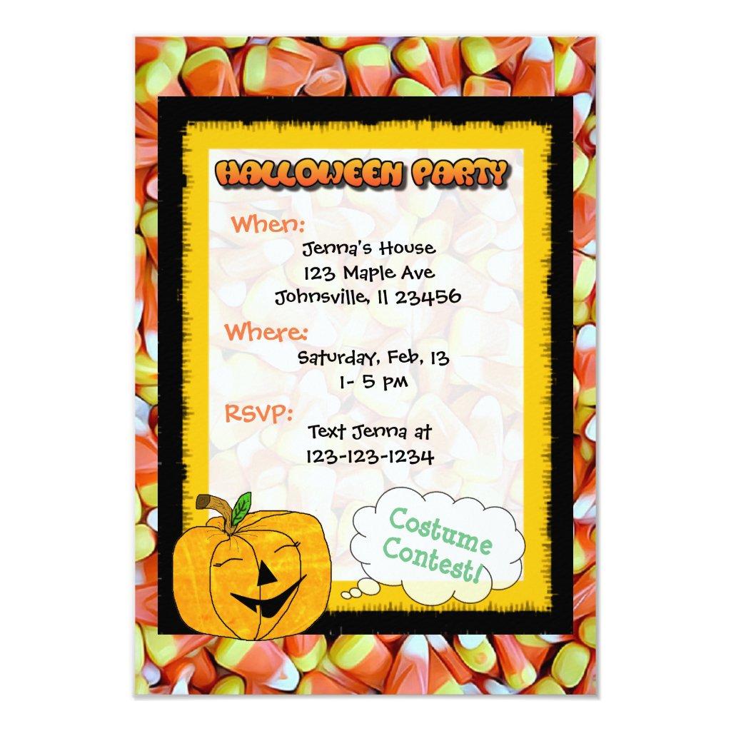 Cute Pumpkin, Cat & Candy Corn Halloween Invite