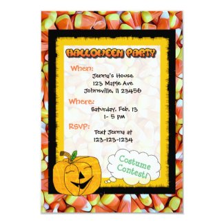 Cute Pumpkin, Cat & Candy Corn Halloween Invite